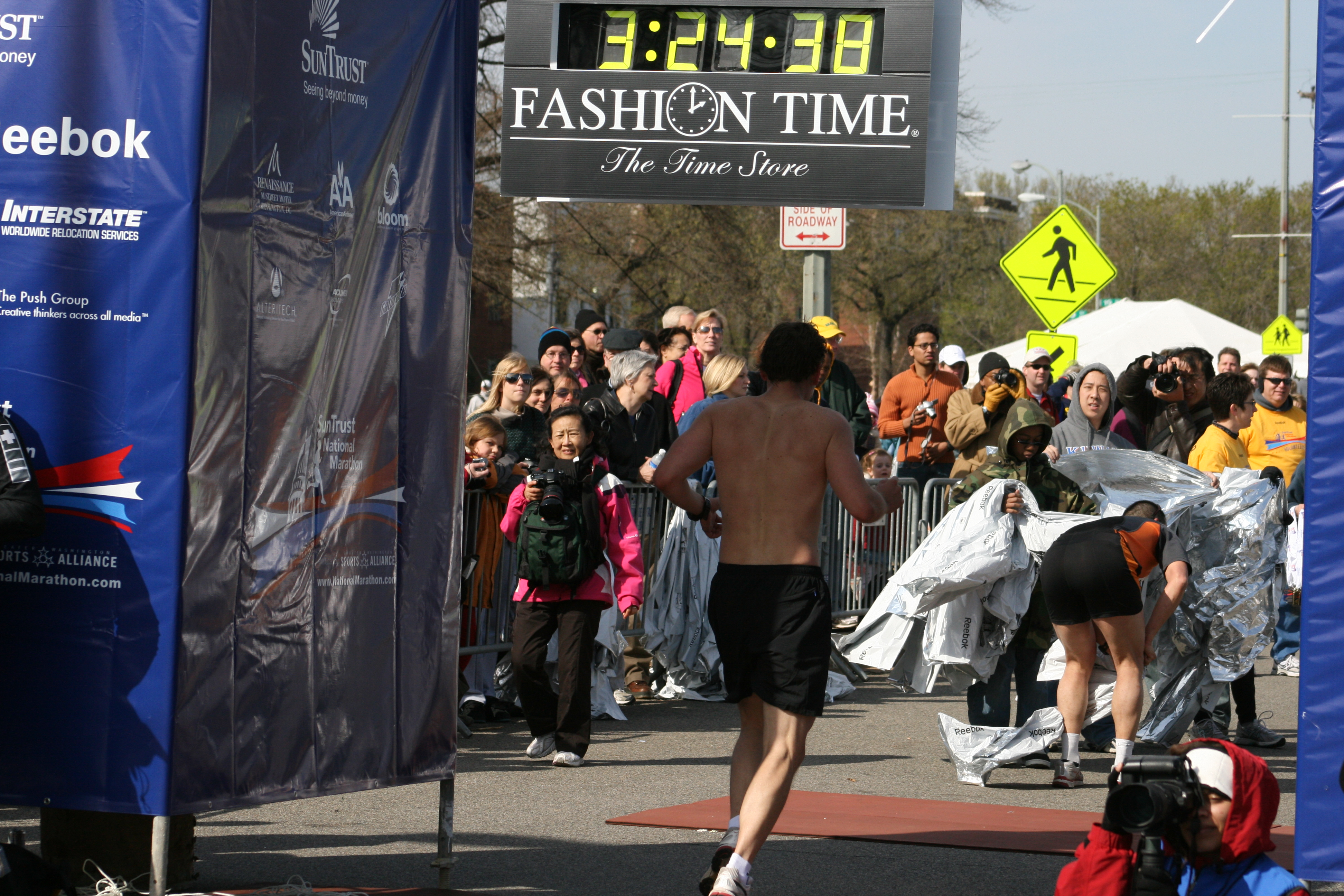 Finishing time this past March at the National Marathon in DC